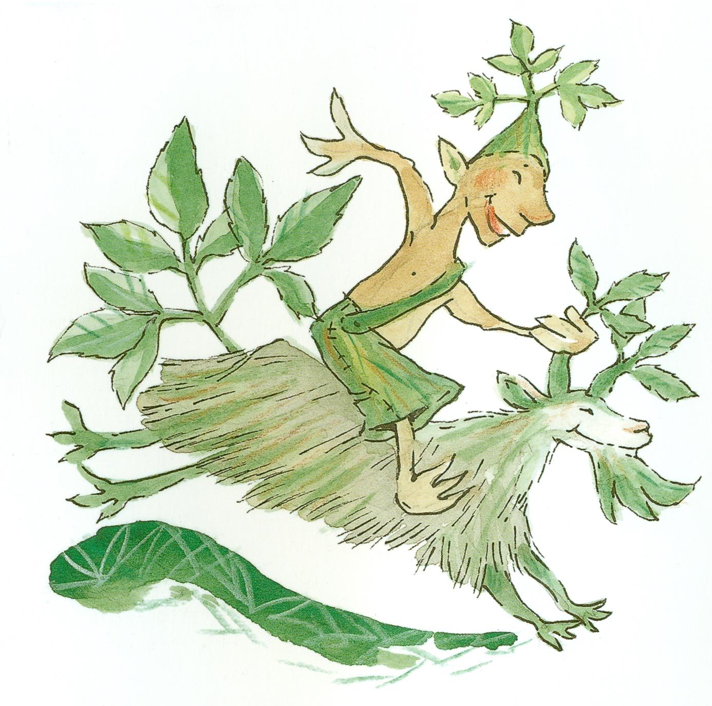Ville Vuohenputki (kuvittaja Heli Pukki). Kuvitusta teoksesta Villiinny villivihanneksiin – luontoliikuntaa ja herkkuja koko perheelle.