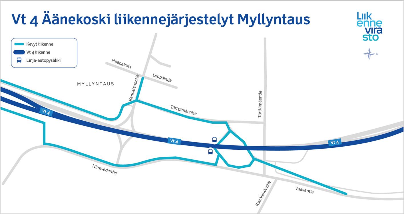Vt 4 Äänekoski Myllyntaus kevyen liikenteen väylät 8/2018