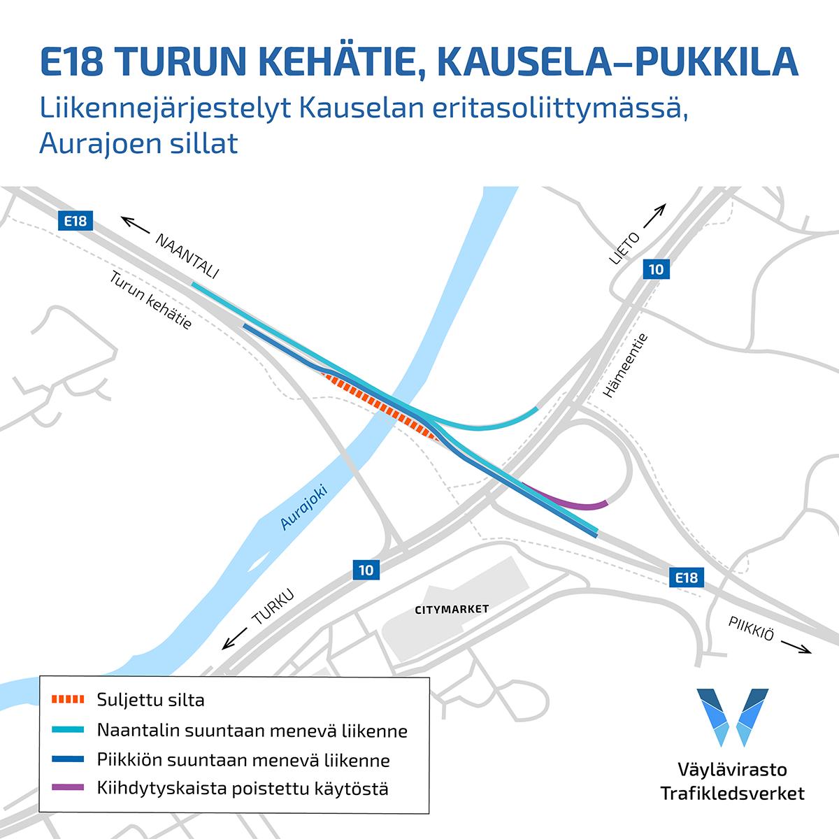 Turun kehätien liikenne siirtyy kulkemaan kehätien pohjoispuolta Aurajoen ylittävien siltojen kohdalla.