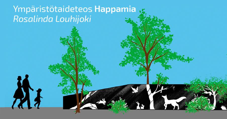 Havainnekuva Louhijoen teoksesta. Mustaan pohjaan valkoisella maalatut kasvien ja eläinten hahmot jatkavat elävien kasvien linjaa.
