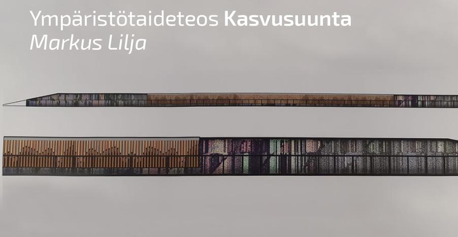 Havainnekuva Markus Liljan teoksesta.Teoksen voimakkaat, mutta samalla maanläheiset värit ja muodot vetävät kohti ja saavat kauempaa katsottuna aikaan vaikutelman siitä, että katsoja katsoo liikkuvaa kohdetta.