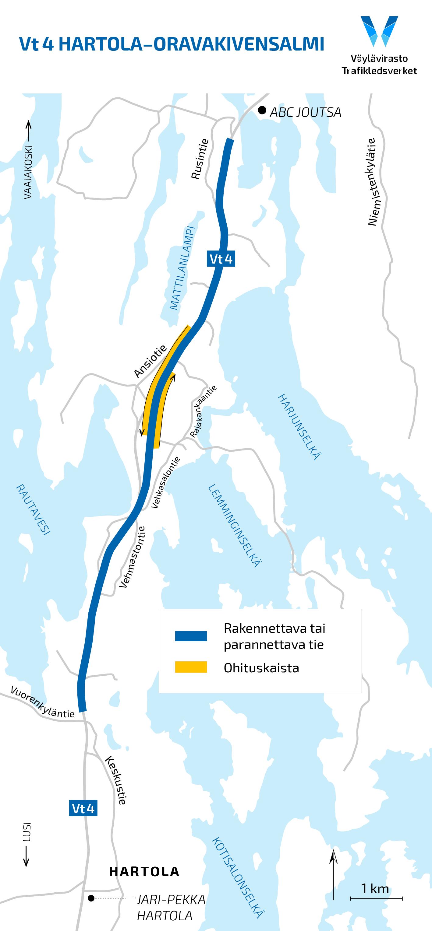 Karttapiirros rakennettavasta ja parannettavasta tieosuudesta valtatiellä 4.