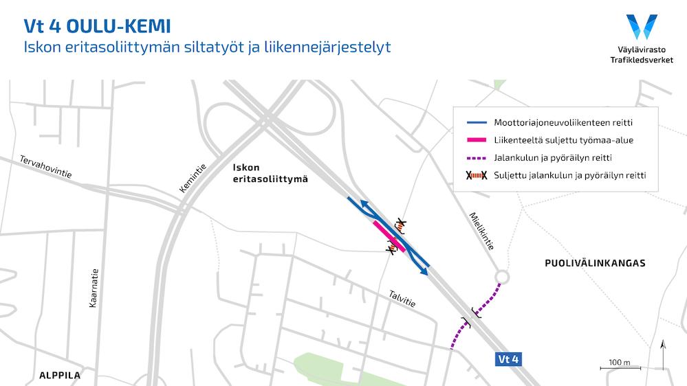 Karttakuva liikennejärjestlyistä Iskon eritasoliittymän töiden johdosta.