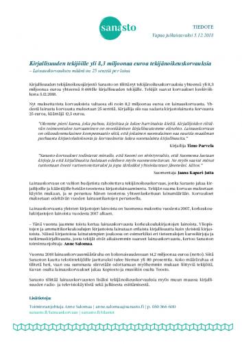 tiedote-kirjallisuuden-tekijo-cc-88ille-yli-83-miljoonaa-euroa-tekija-cc-88noikeuskorvauksia_2018.pdf