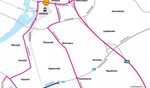 Joensuussa Kuhasalontien liikenne ohjataan kiertoreiteille 8.4. alkaen