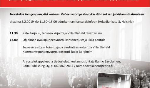 Ville Blåfieldin kirja Hengenpimeyttä vastaan, Puheenvuoroja sivistyksestä, julkistamistilaisuus 5.2.2019