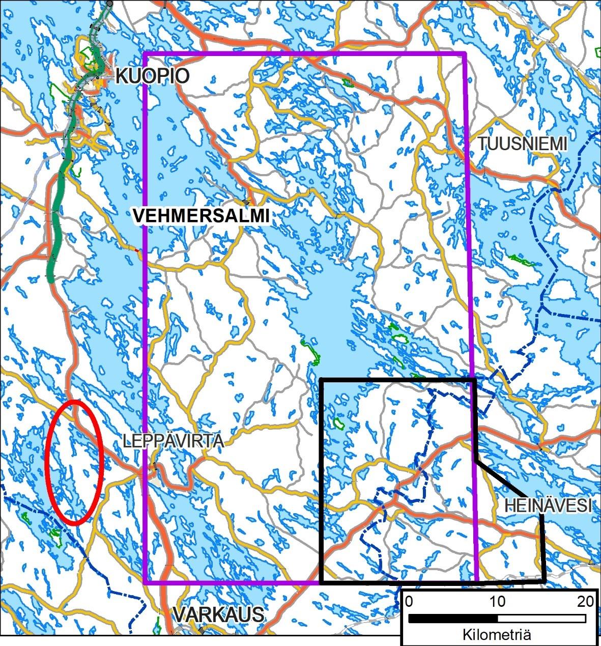 Geologian Tutkimuskeskuksen Leppavirta Heinavesi Tuusniemi Alueen
