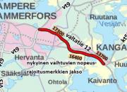 Valtatie 12 välillä Alasjärvi - Huutijärvi tulossa uudet vaihtuvat nopeus- ja varoitusmerkit