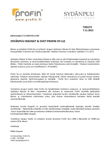 mediatiedote-profin-oy-ostaa-sydanpuu-ikkunat-ja-ovet-liiketoiminnan-7.11.2013.pdf