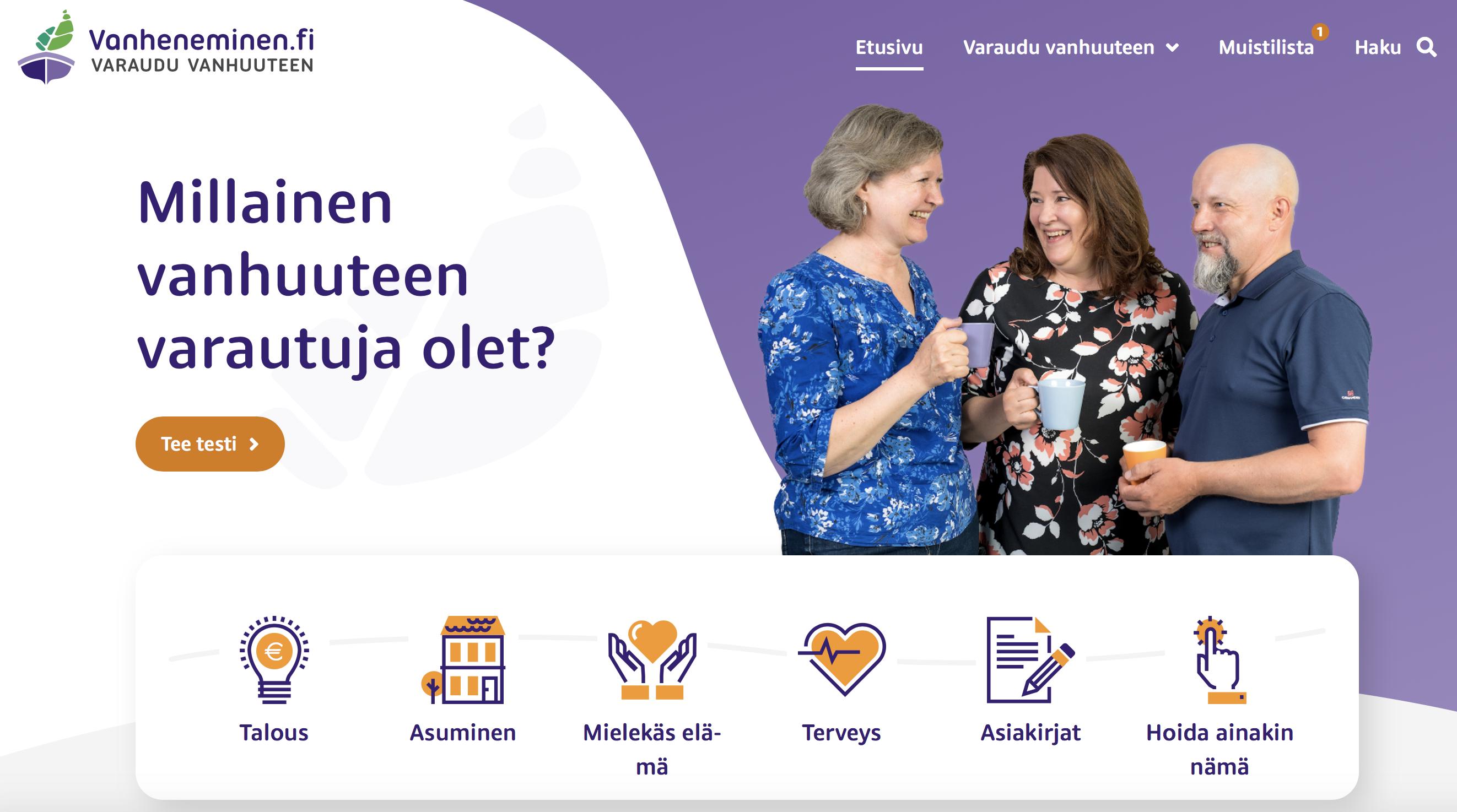 Vanheneminen.fi – tietoa ja käytännöllisiä työkaluja tulevien vuosikymmenten suunnitteluun jokaiselle yli 50-vuotiaalle