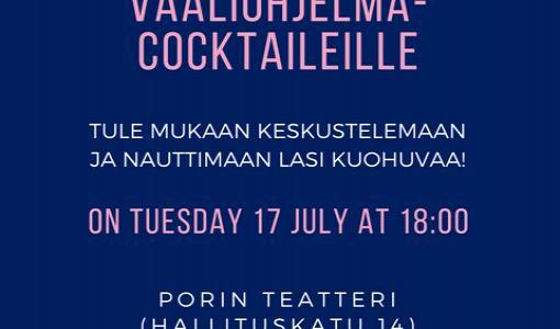 Tervetuloa SYL:n vaaliohjelma-cocktaileille SuomiAreenaan 17.7.! / Välkommen till FSF:s valcocktail på SuomiAreena 17.7.! / Welcome to the launch of SYL's Election Platform at SuomiAreena on 17 July!