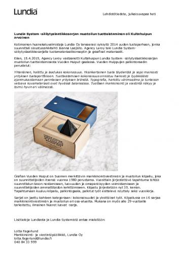 lehdistotiedote_lundiasystem_vuodenhuiput2015.pdf