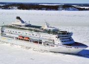 M/S Birka Cruise ship arrives to Kemi, Santa's home port, on Christmas Eve