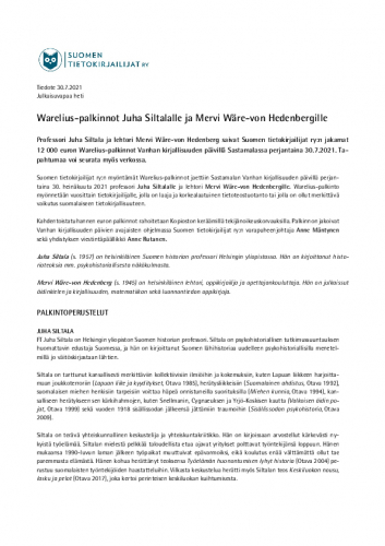 tiedote-warelius-palkinnot-jaettiin-juha-siltalalle-ja-mervi-ware-von-hedenbergille.pdf