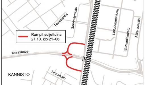 Ramperna mellan Saviontie och Kervovägen stängda den 27 oktober