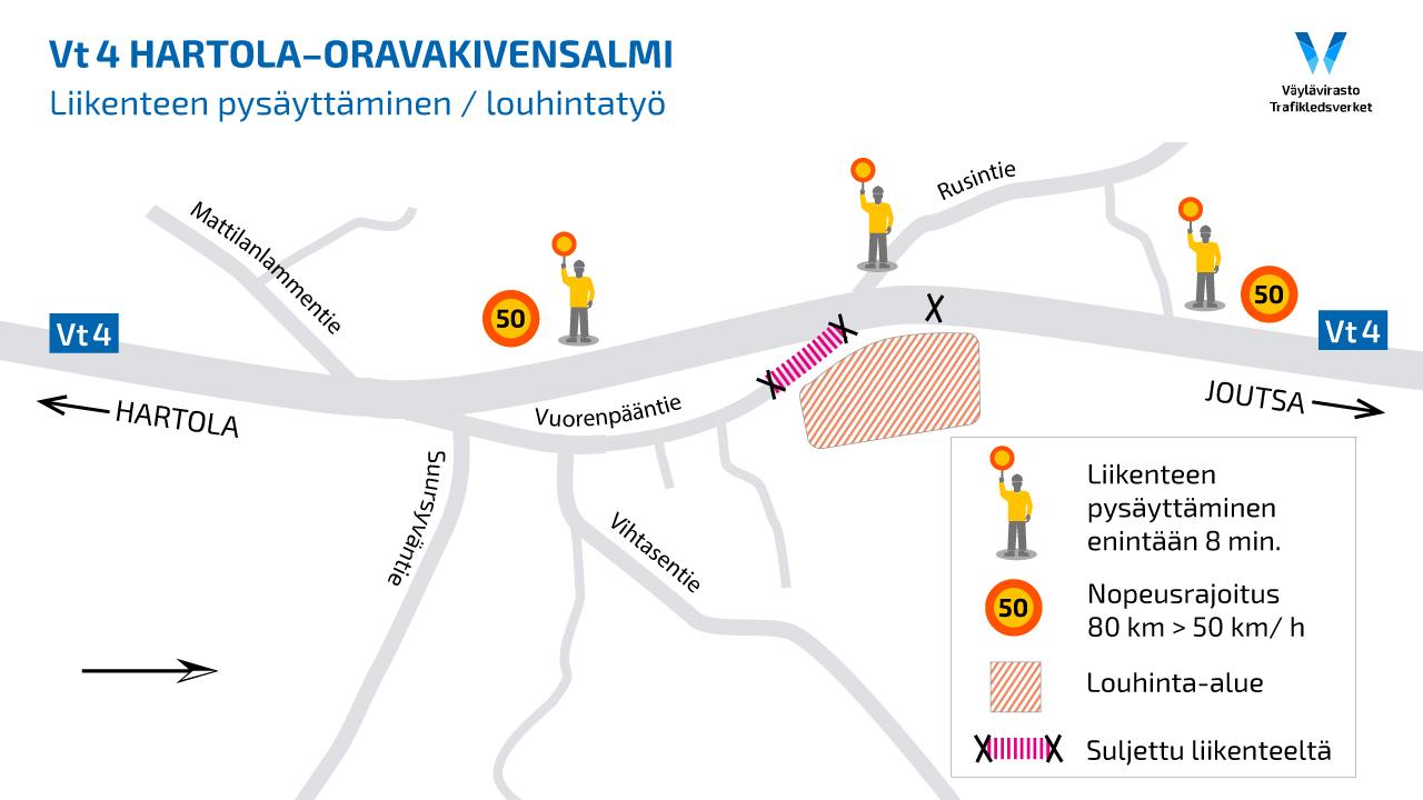 Louhintojen takia tehtävät liikenteen pysäytysten kohdat kartalla Hartolassa.