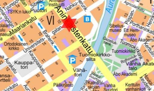 Kaivutyö sulkee ajokaistoja ja kaventaa kevyen liikenteen väyliä Aninkaistenkatu -Yliopistonkatu risteys-alueella Aninkaistenkadun puolella 15.8.2017