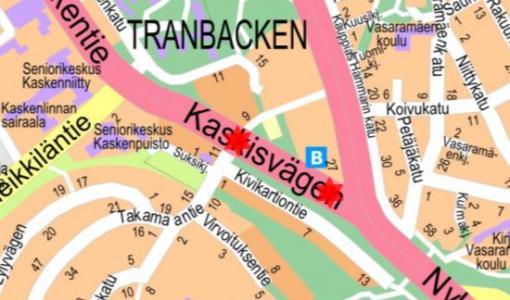 Kadunrakennustyö Kaskentiellä 2.11.2017
