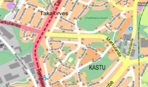 Valaistustyö Tampereentiellä ja Tampereen valtatiellä 14 - 15.11.2017
