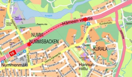 Kadunrakennustyö Hämeen valtatiellä 13 - 15.12.2017