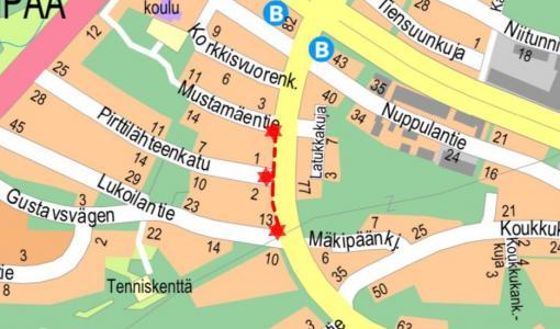Viemäri- ja vesijohtotyö Pirttilähteenkadulla 14.3 - 30.5.2018