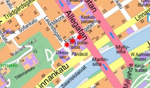 Katualueelle ulottuva rakennustyö Eerikin- Sairashuoneen- ja Puistokadulla 14.12.2018