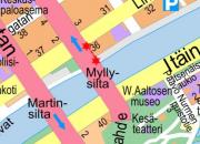 Katualueelle ulottuva rakennustyö Koulukadulla, Myllysillan jälkeen 25.4.2019