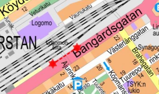 Nostotyö Ratapihankadulla 10. - 11.1.2020