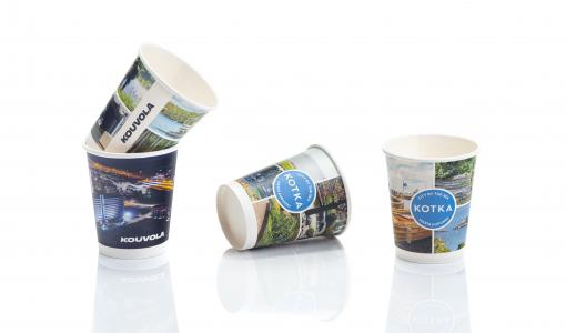 Kouvola- and Kotka-themed plastic-free paper cups now available in retail stores