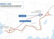 Vt 5 Mikkeli-Nuutilanmäki: Viitostien liikenne kiertotielle Tuppuralan ja Pieksämäentien liittymän välillä tiistain ja keskiviikon väliseksi yöksi