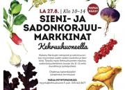 Kehruuhuoneen Sieni- ja sadonkorjuumarkkinat la 27.8.2016 klo 10–14