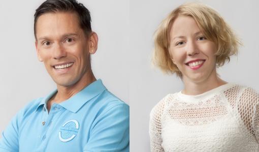 Lappeenrannan kaupunginteatterin uudet näyttelijät Jussi Virkki ja Vilma Putro toivottavat yleisön tervetulleeksi vauhdikkaalle syyskaudelle
